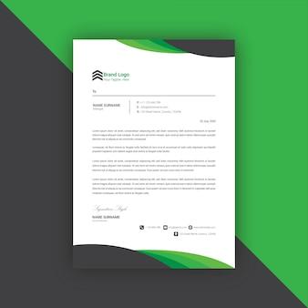 Modèle de conception de papier à en-tête noir et vert