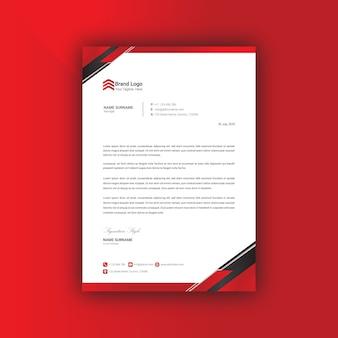 Modèle de conception de papier à en-tête rouge et noir