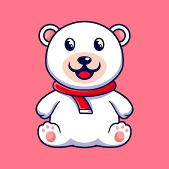 Modèle de conception de personnage de mascotte petit ours polaire