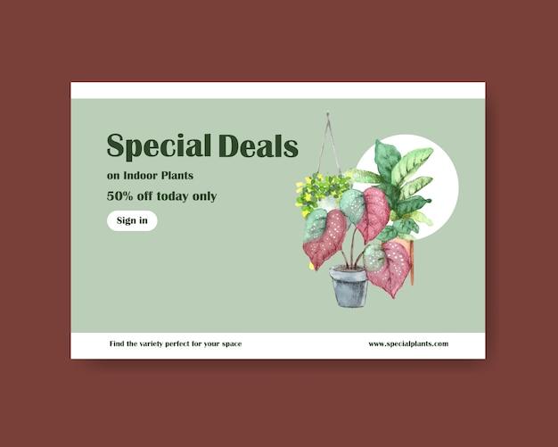 Modèle avec conception de plantes d'été pour les médias sociaux, internet, web, communauté en ligne et publicité illustration aquarelle