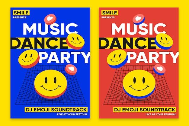 Modèle de conception plate affiche acide emoji