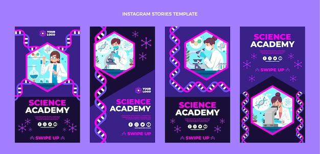 Modèle de conception plate d'histoires instagram scientifiques