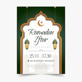 Modèle de conception plate invitation iftar