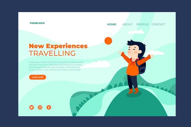 Modèle de conception plate de page de destination de voyage