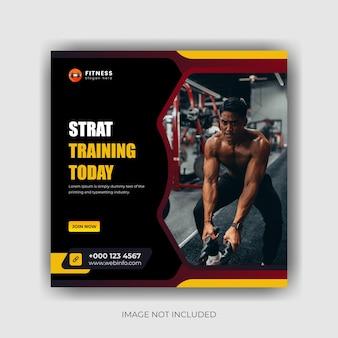 Modèle de conception premium de bannière de médias sociaux gymfitness et publication instagram