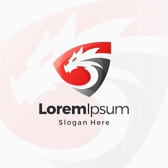 Modèle de conception premium de logo dégradé de bouclier de dragon