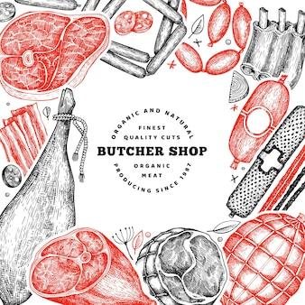 Modèle de conception de produits de viande vintage. illustration rétro.
