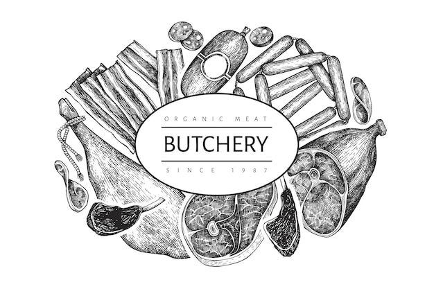 Modèle de conception de produits de viande vintage. jambon dessiné à la main, saucisses, jamon, épices et herbes. ingrédients alimentaires crus. illustration vintage. peut être utilisé pour le menu du restaurant.