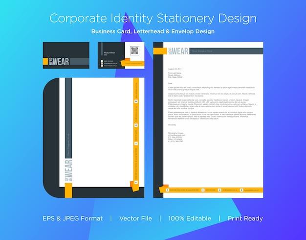 Modèle de conception professionnelle de carte de visite, papier à en-tête et enveloppe