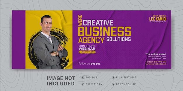 Modèle de conception de promotion de marketing d'entreprise numérique couverture facebook webinaire en direct marketing numérique