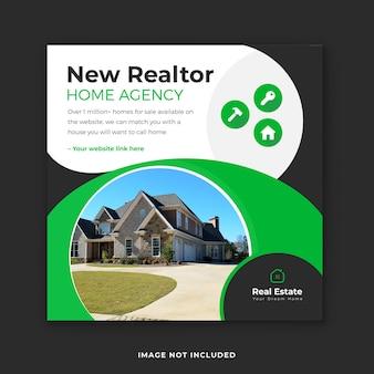 Modèle de conception de publication instagram et de bannière web de l'agent immobilier d'une agence immobilière