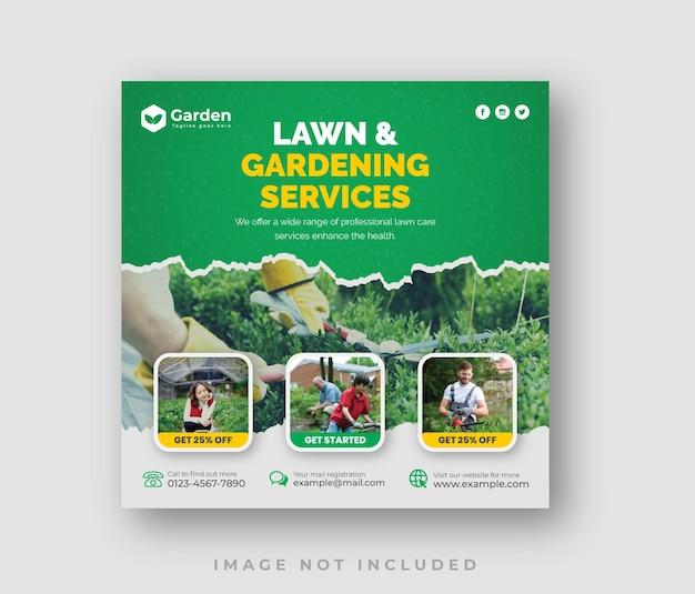 Modèle de conception de publication sur les médias sociaux pour l'entretien des pelouses et des jardins