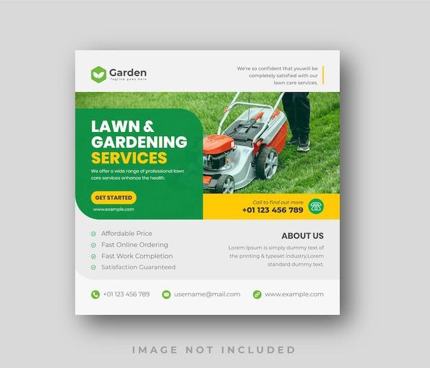 Modèle de conception de publication sur les médias sociaux pour le service de soins d'aménagement paysager de jardin