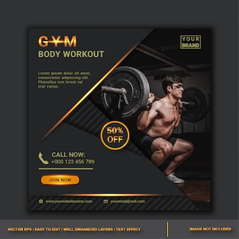 Modèle de conception de publication de médias sociaux de vente de gym
