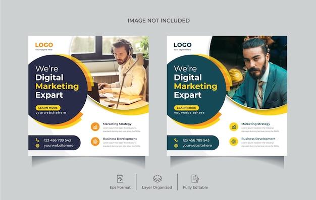 Modèle de conception de publication sur les réseaux sociaux de marketing d'entreprise numérique ou de flyer carré vecteur premium