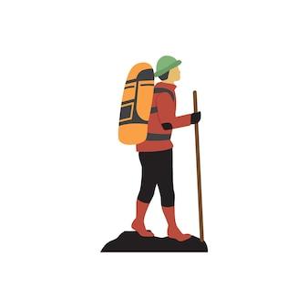 Modèle de conception de randonnée homme icône illustration
