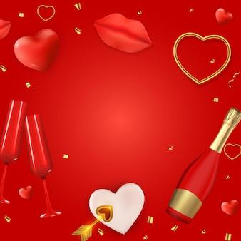 Modèle de conception réaliste de fond de carte-cadeau de vacances de la saint-valentin pour le web publicitaire