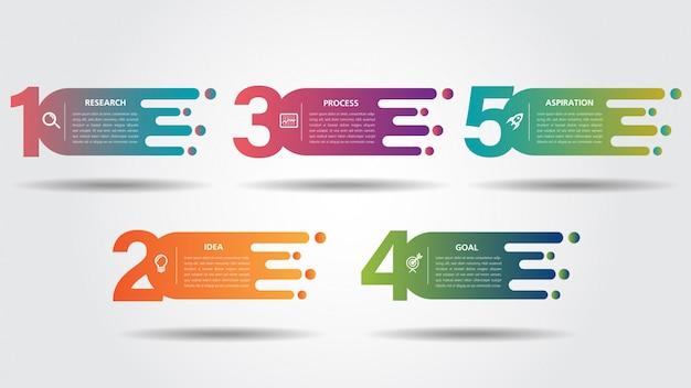 Modèle de conception de route entreprise infographie avec pointeur coloré et options de 5 numéros