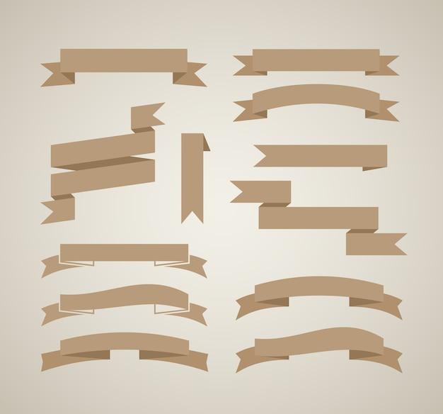 Modèle de conception de rubans vectoriels vintage dans un style rétro
