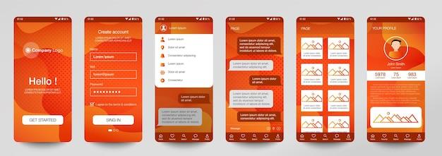 Modèle de conception de la salle de discussion de l'application mobile ui ux gui set