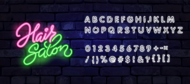 Modèle de conception de signe de salon de coiffure au néon. logo de néon de coiffure, élément de conception de bannière lumineuse tendance de design moderne coloré, publicité lumineuse de nuit, signe lumineux. illustration