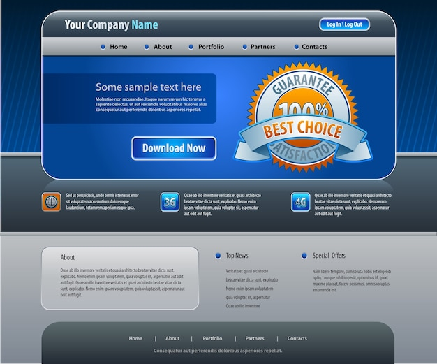 Modèle de conception de site web d'entreprise