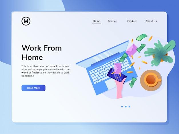Modèle de conception de site web de vecteur concept de travail à domicile