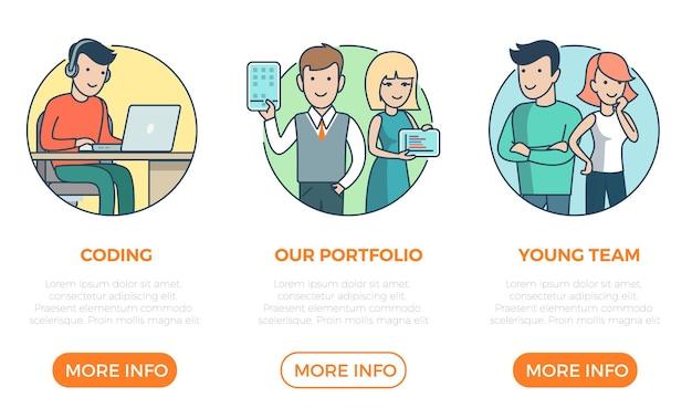 Modèle de conception de sites web de page plate linéaire infographies icônes de site web vecteur de ligne mince
