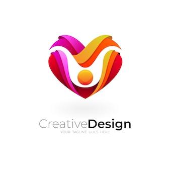 Modèle de conception de soins d'amour abstrait, icône de charité