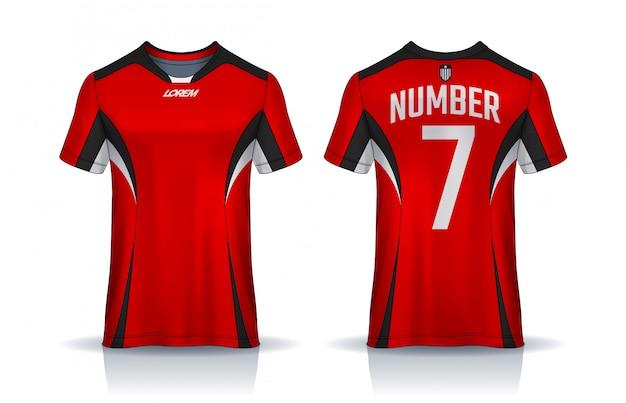 Modèle de conception sport t-shirt, maillot de football pour club de football. uniforme devant et dos.