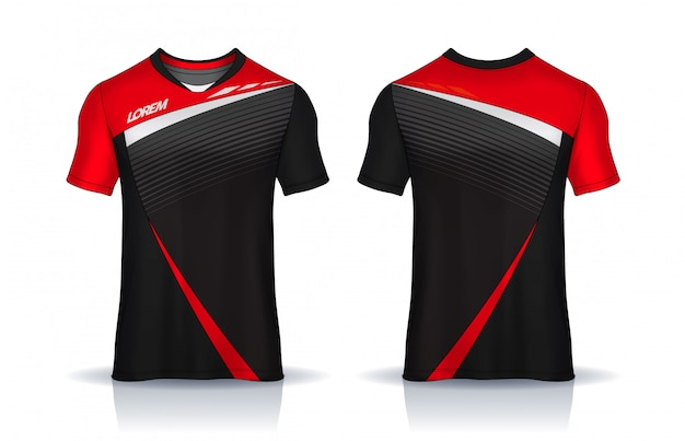 Modèle de conception sport t-shirt, maillot de football pour club de football. uniforme devant et dos.