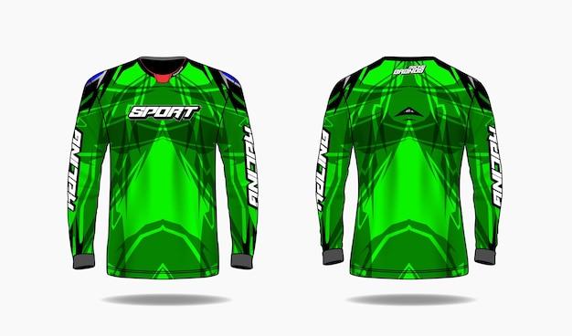 Modèle de conception de sport de t-shirt, vue avant et arrière uniforme de modèle à manches longues.