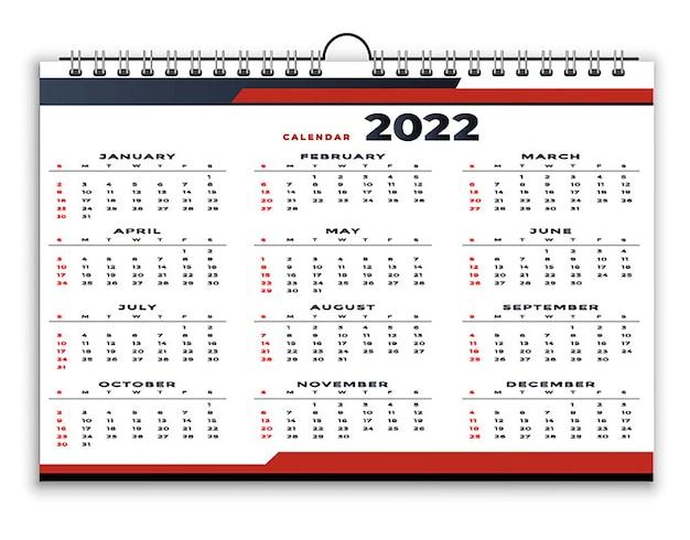 Modèle de conception de style géométrique professionnel calendrier 2022 rouge noir
