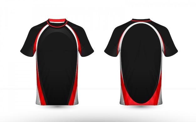 Modèle de conception de t-shirt e-sport avec une mise en page blanche et rouge