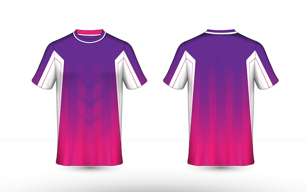 Modèle de conception de t-shirt e-sport de mise en page violet, rose et blanc