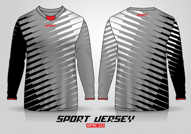 Modèle de conception de t-shirt à manches longues, devant et dos uniformes. vecteur