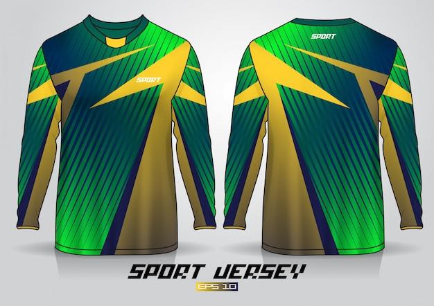 Modèle de conception de t-shirt à manches longues, devant et dos uniformes