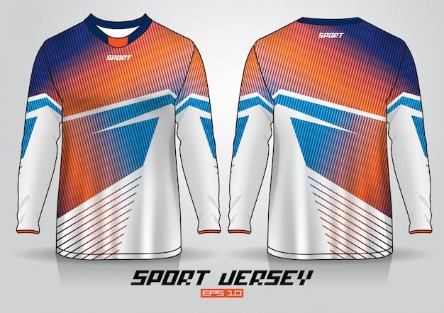 Modèle de conception de t-shirt à manches longues, devant et dos uniformes.