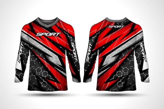 Modèle de conception de t-shirt à manches longues, maillot de moto de sport de course