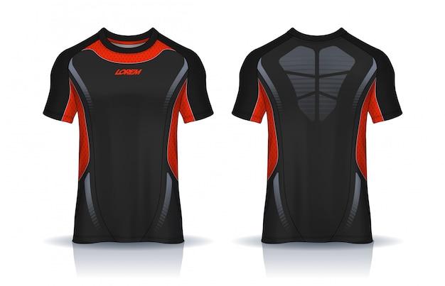 Modèle de conception de t-shirt sport, maquette de maillot de football pour club de football. vue avant et arrière uniforme.