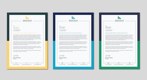 Modèle de conception de tête de lettre d'affaires moderne