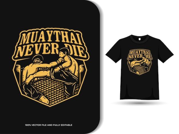 Modèle de conception de texte et de t-shirt modifiable de logo de mascotte de sport de combat de muaythai