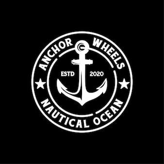 Modèle de conception de timbre de logo d'insigne d'ancre rétro vintage ou de sceau