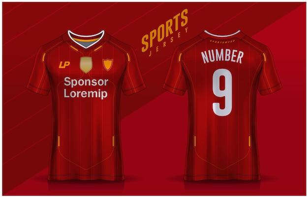 Modèle de conception de tshirt sport maillot de football pour l'uniforme de club de football vue avant et arrière