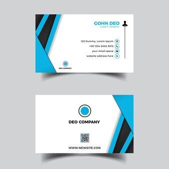 Modèle de conception de vague bleue carte de visite abstraite