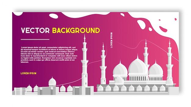 Modèle de conception de vecteur de bannière mosquée