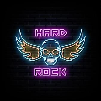 Modèle de conception de vecteur d'enseignes au néon de hard rock