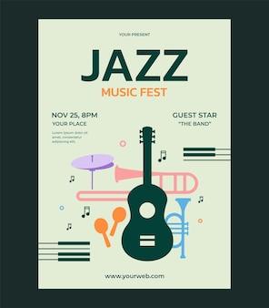 Modèle de conception de vecteur de festival de musique jazz