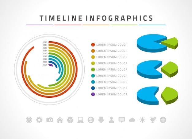 Modèle de conception vecteur infographie et icônes de chronologie.