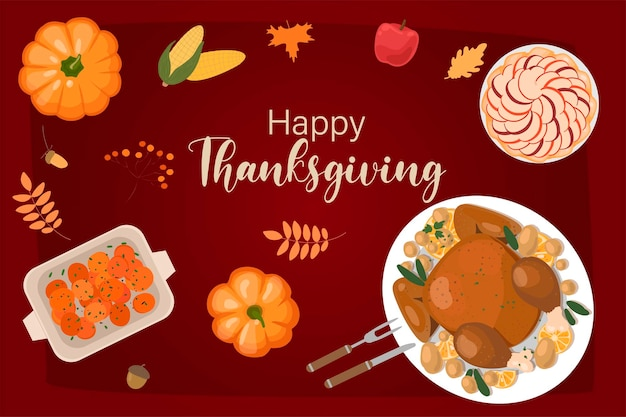 Modèle de conception de vecteur de jour de thanksgiving pour affiches bannières invitations carte de voeux